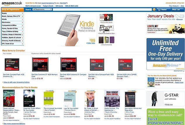 Amazon.com today, customized and sleek